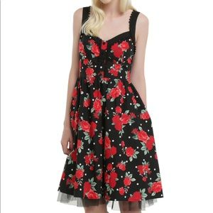 Rockabilly Pinup Girl Floral & Polka Dot Dress